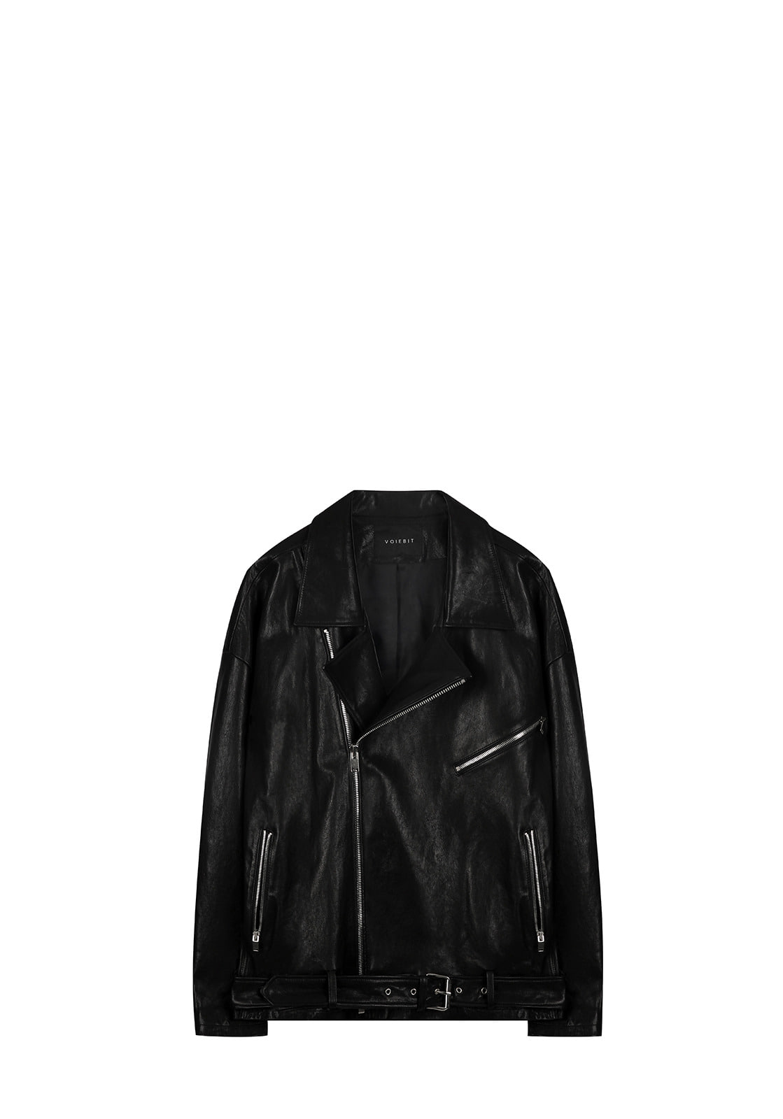 OVERSIZE ZIPPER LEATHER JACKETBLACK