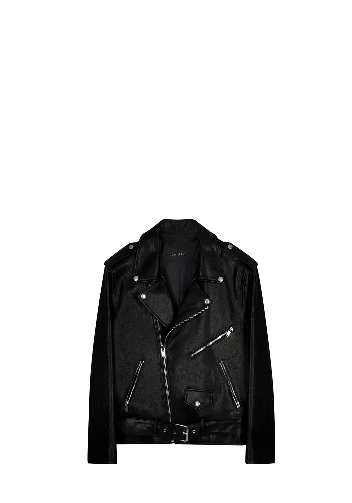 LINE ZIPPER LEATHER JACKETBLACK