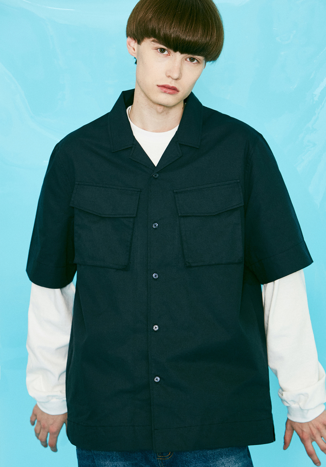 V456 TWO POCKET HALF-SHIRTSNAVY