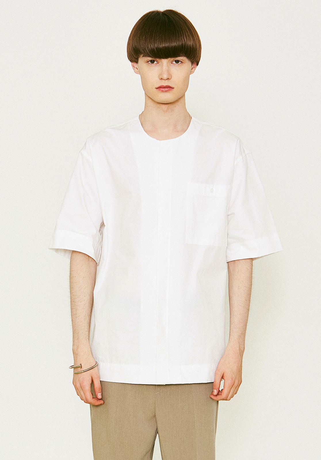 V455 POCKET ROUND HALF-SHIRTS WHITE