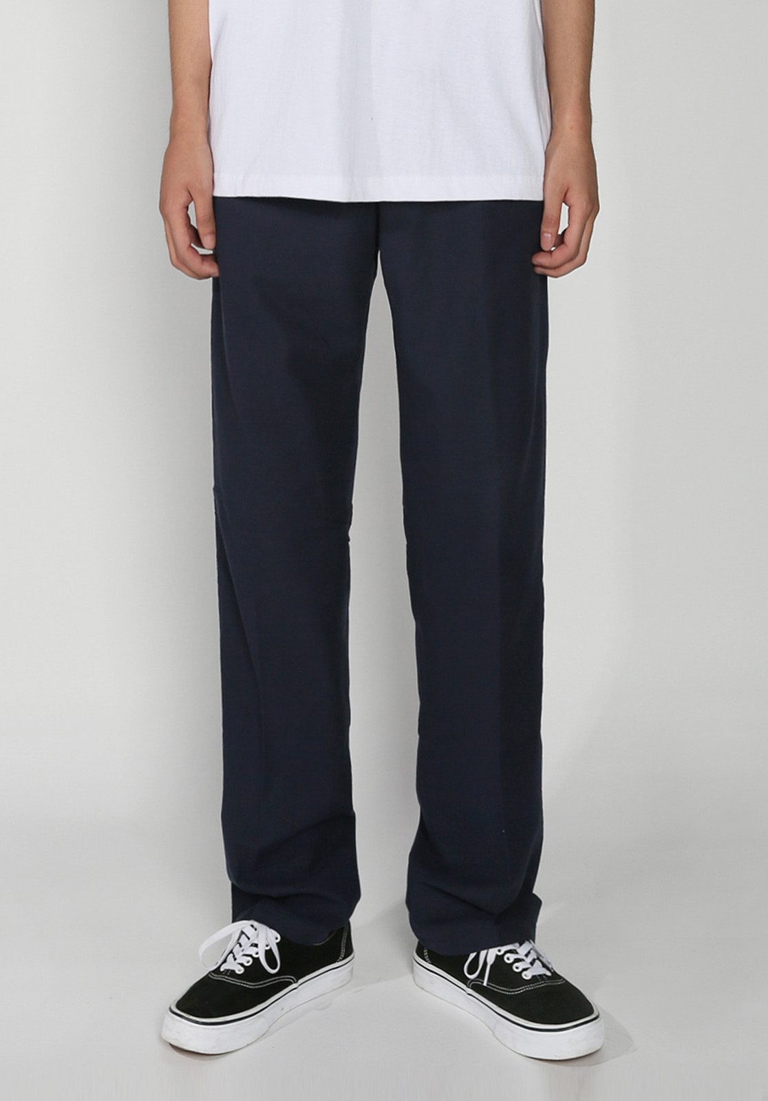 V278 BASIC LINEN BANDDING PANTS  NAVY