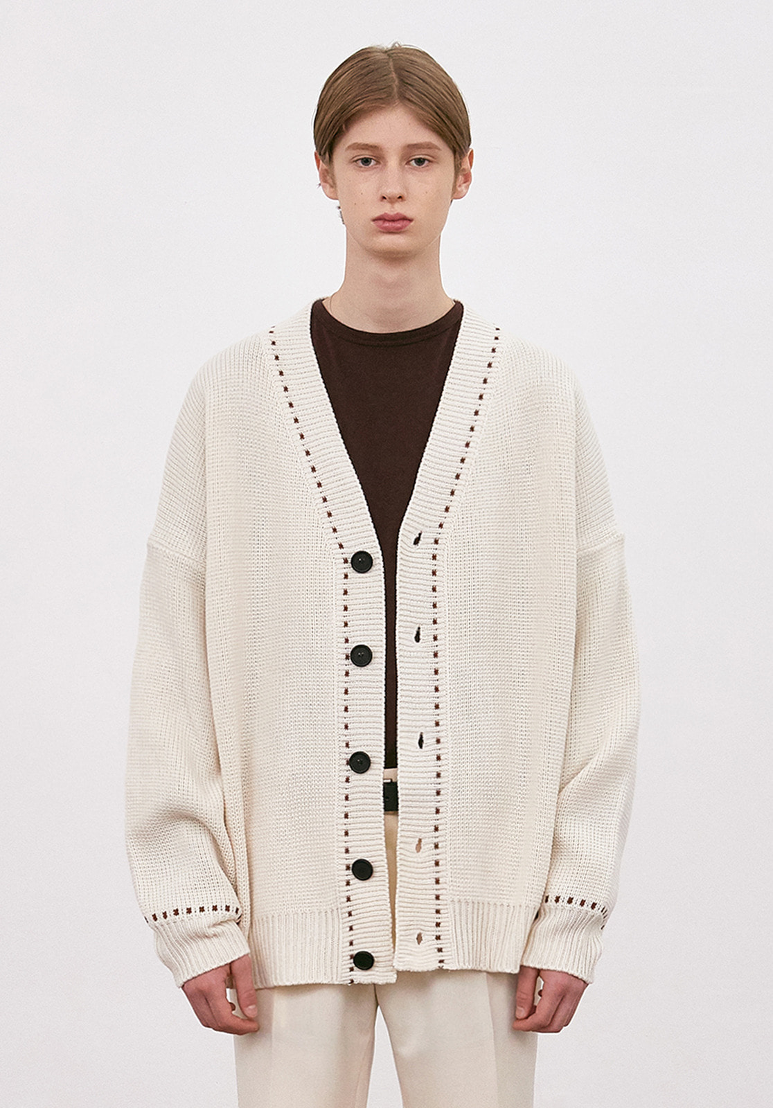 V546 STITCHES OVERSIZE KNIT CARDIGAN  IVORY