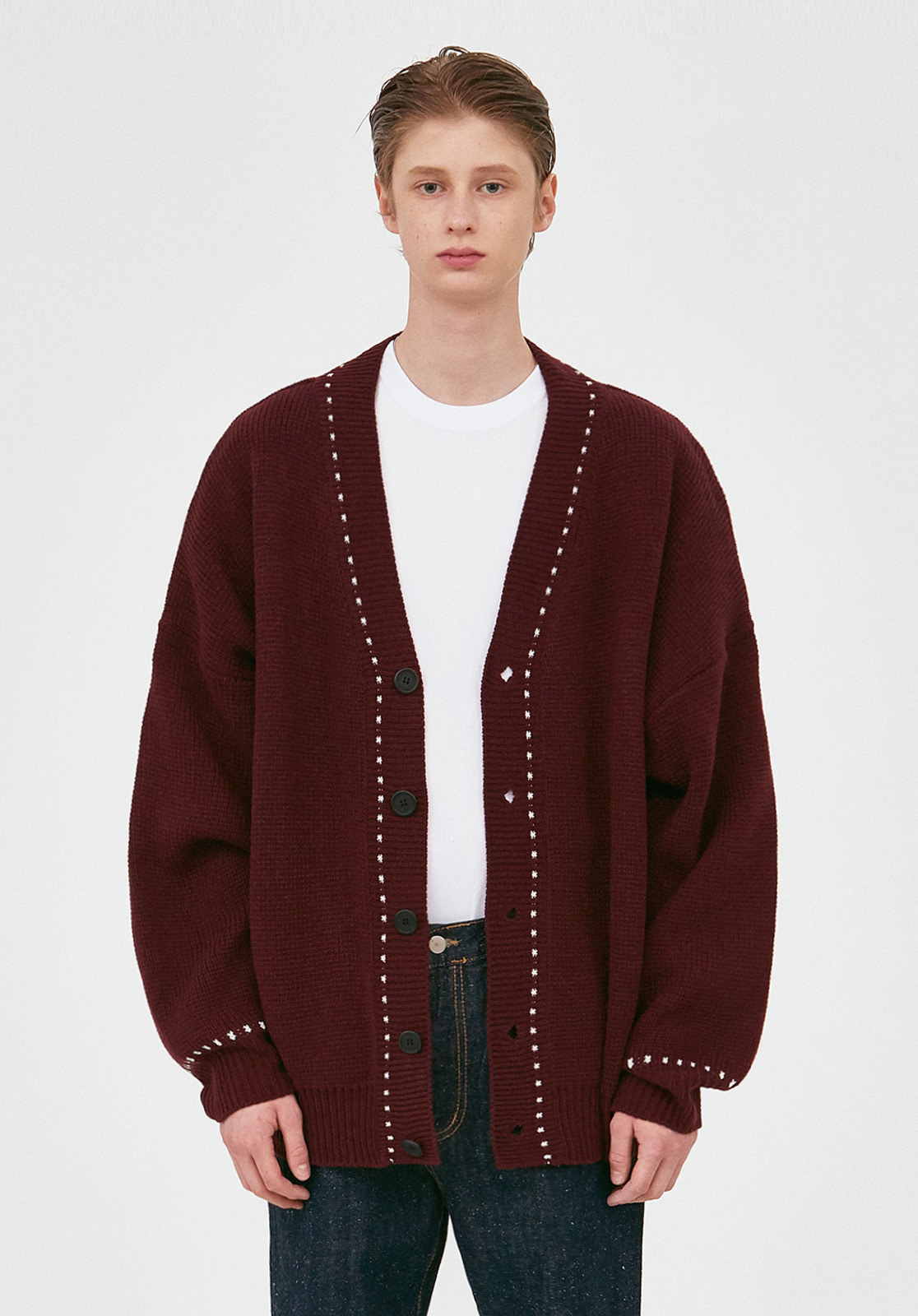 V546 STITCHES OVERSIZE KNIT CARDIGAN  BURGUNDY