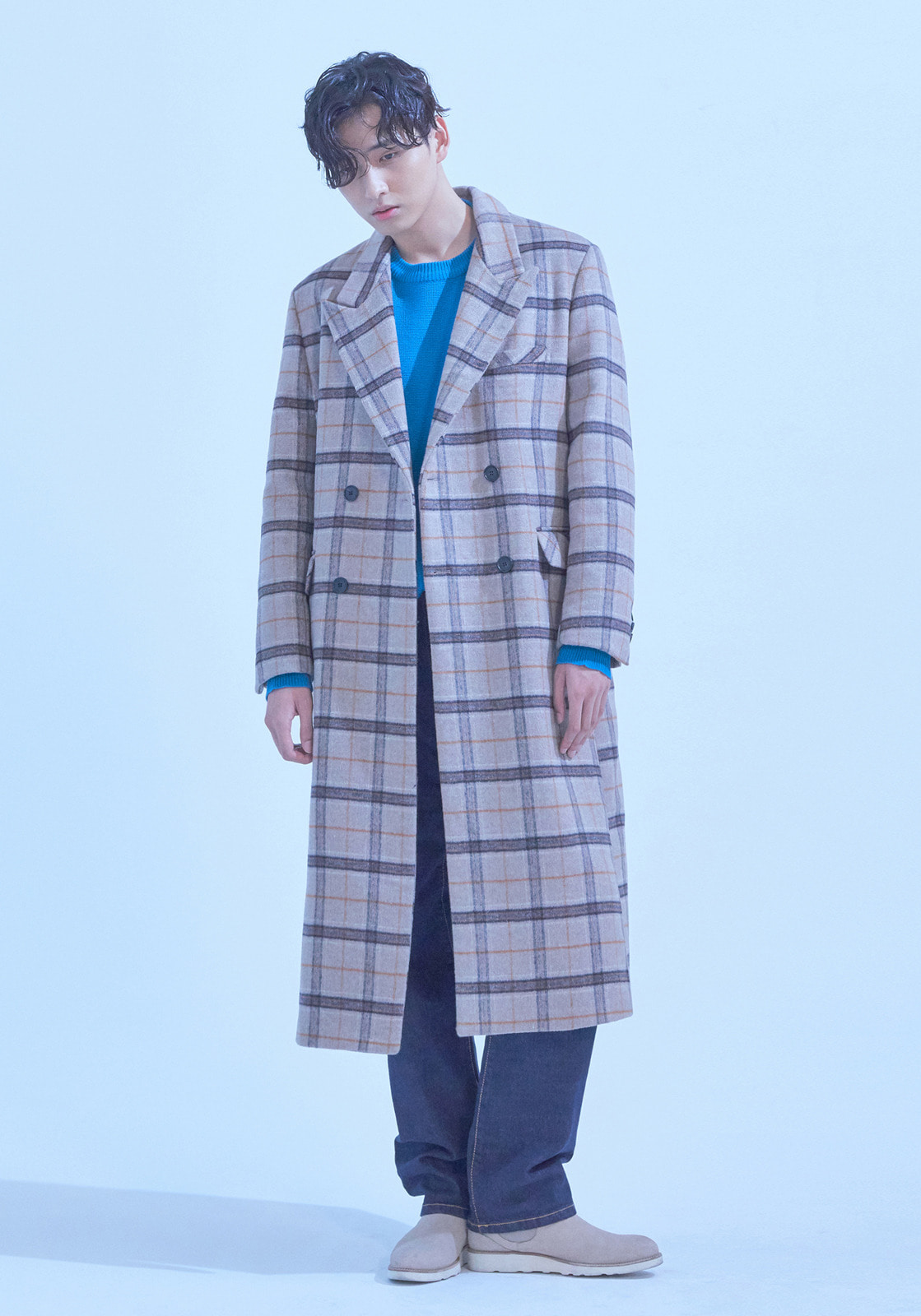 [브아빗x김동규] VG0002 HEAVY DOUBLE CHECK WOOL COAT  BEIGE