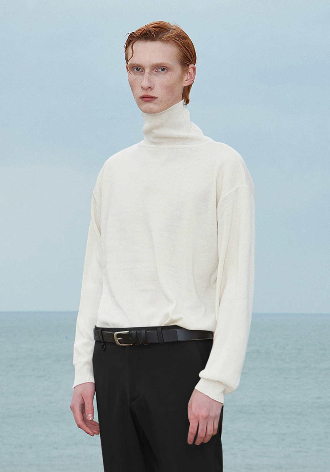 V574 BASIC OVERSIZE TURTLENECK KNIT  CREAM