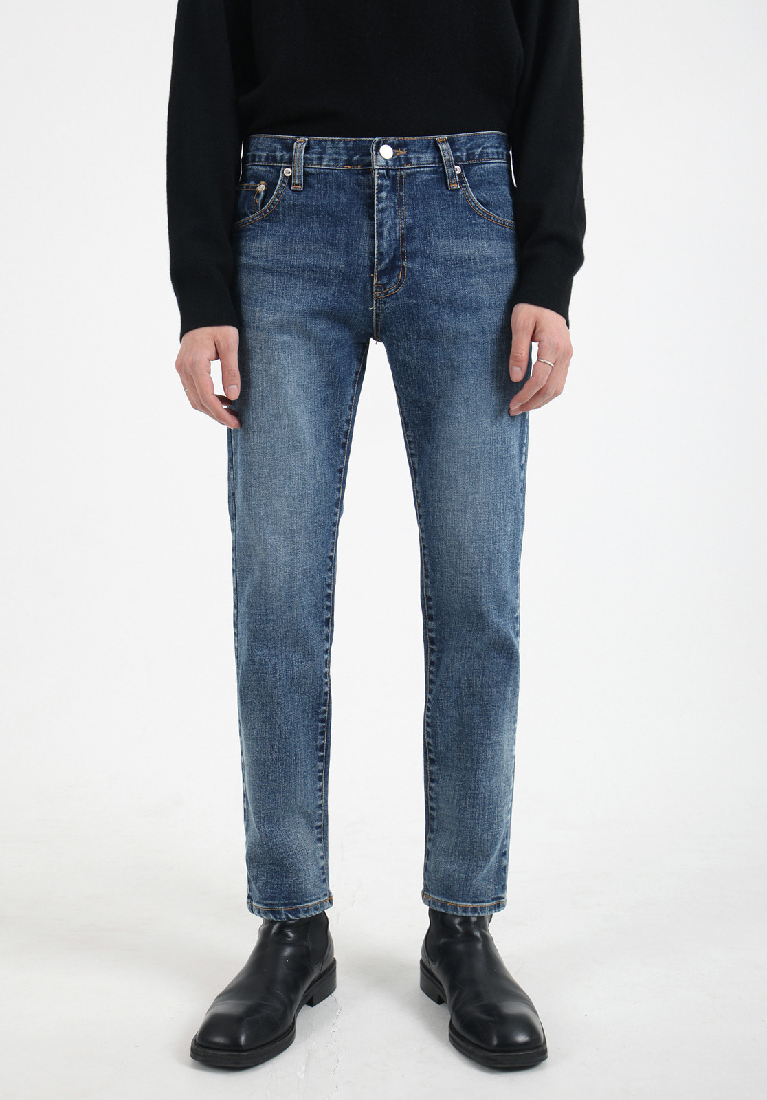 V300 ARES SLIM FIT LOOSE DENIM PANTS  DEEP BLUE