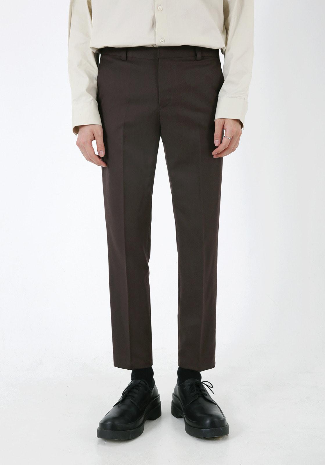 V305 RHODES BANDDING CROP SLACKS  BROWN