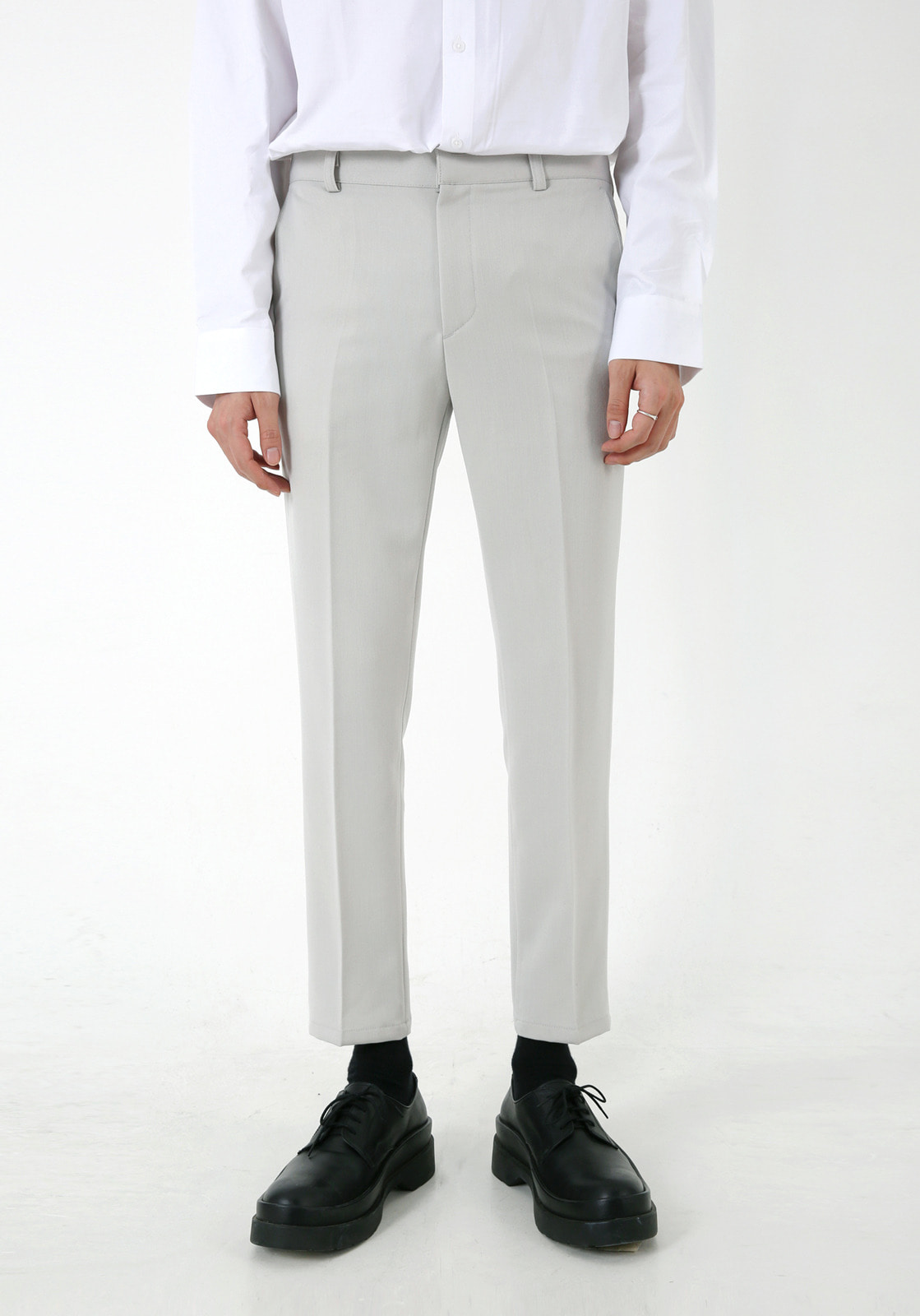V305 RHODES BANDDING CROP SLACKS  LIGHT GRAY