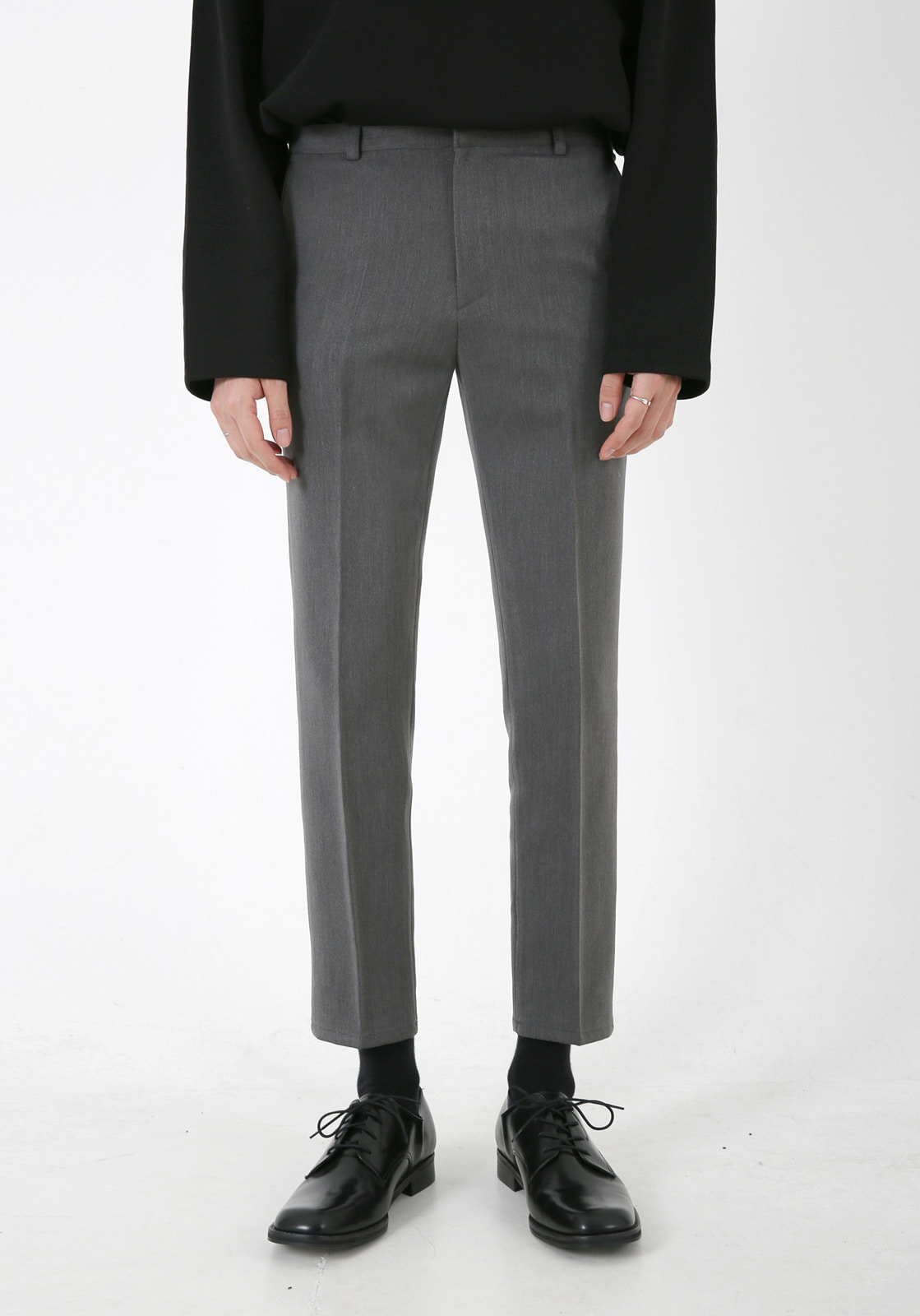 V305 RHODES BANDDING CROP SLACKS  GRAY