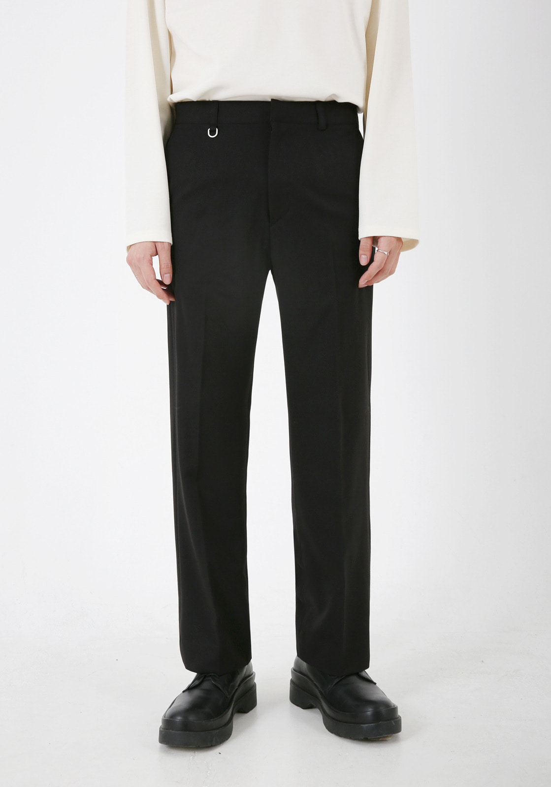 V304 LETO SLIM WIDE SLACKS  BLACK