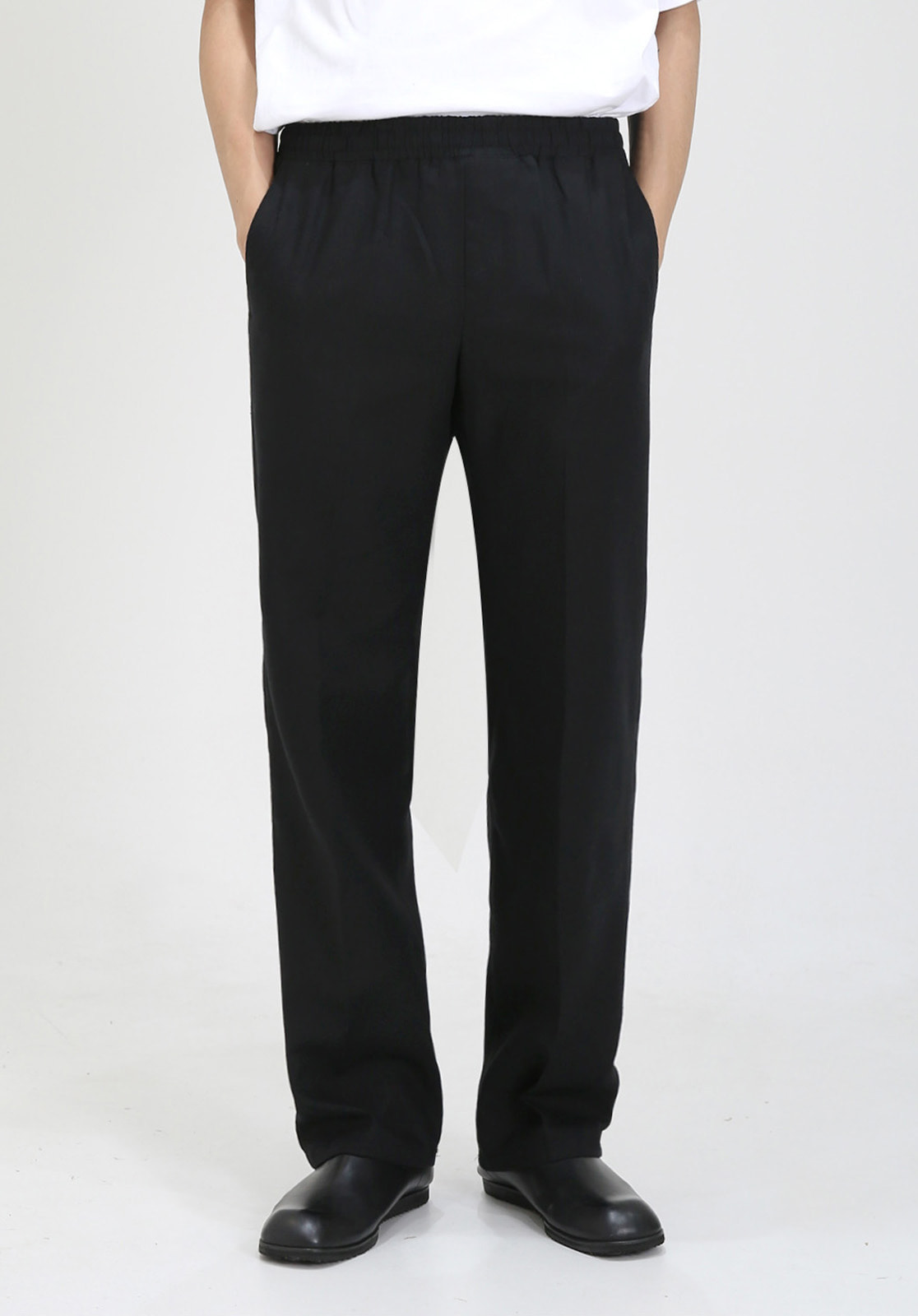 V022 LINEN WIDE BANDDING PANTS  BLACK
