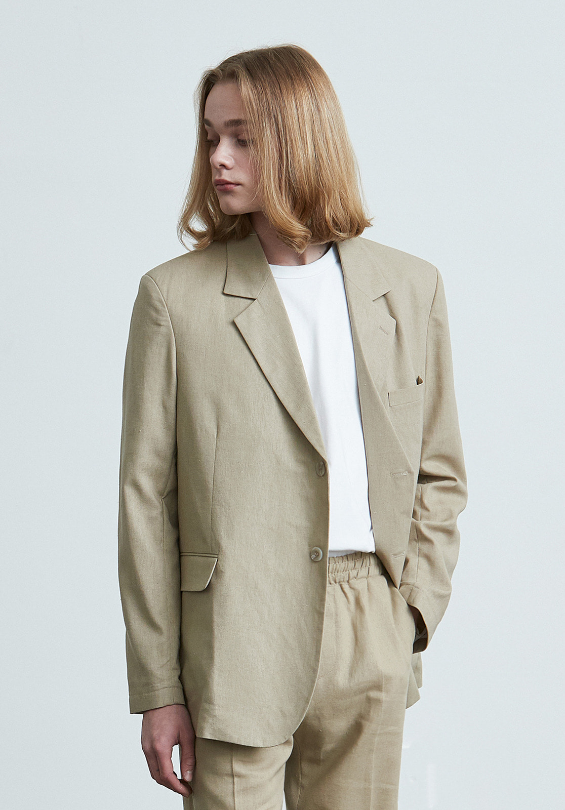 V024 LINEN SINGLE JACKET  BEIGE